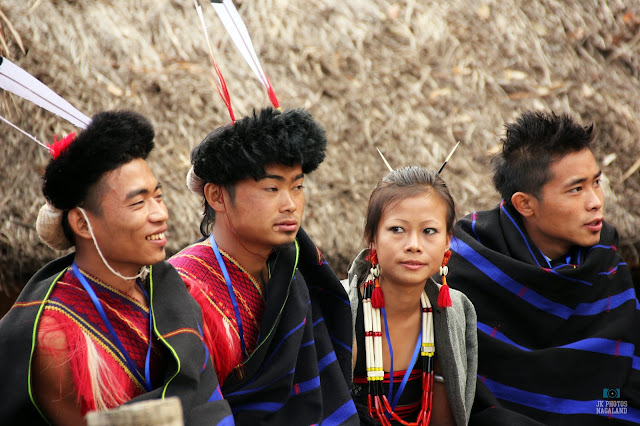 Young Lotha Naga Men In Traditional Attire Playing Traditional Games at Hornbill Festival