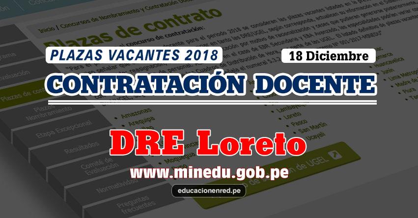 DRE Loreto: Plazas Vacantes Contrato Docente 2018 (.PDF) www.drel.gob.pe