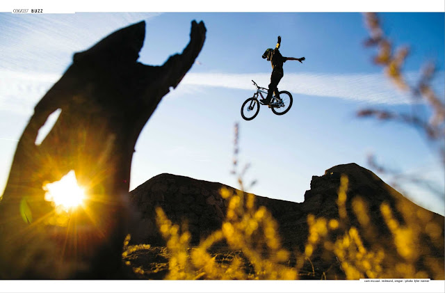 Biker Cam McCaul does a no hander at sunset in Redmond Oregon in the new issue of Bike Mag.