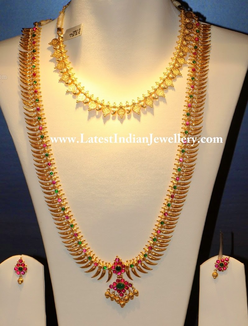Traditional Lightweight Lavangam Mala And Kasu Necklace