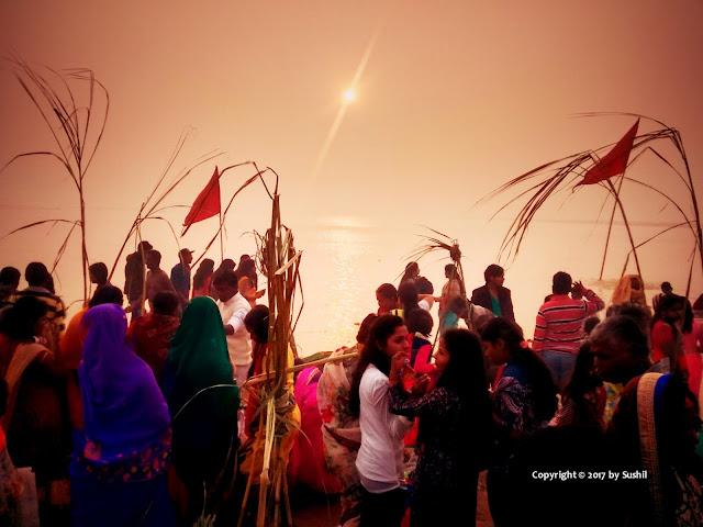 Panaromic view of Sunrise at Dehri on Sone Chhath Ghat