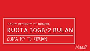 Paket Internet Super Murah Telkomsel 30GB/60 Hari Hanya 70 ribu, Mau?