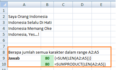 Rumus Excel LEN Menghitung Karakter Range