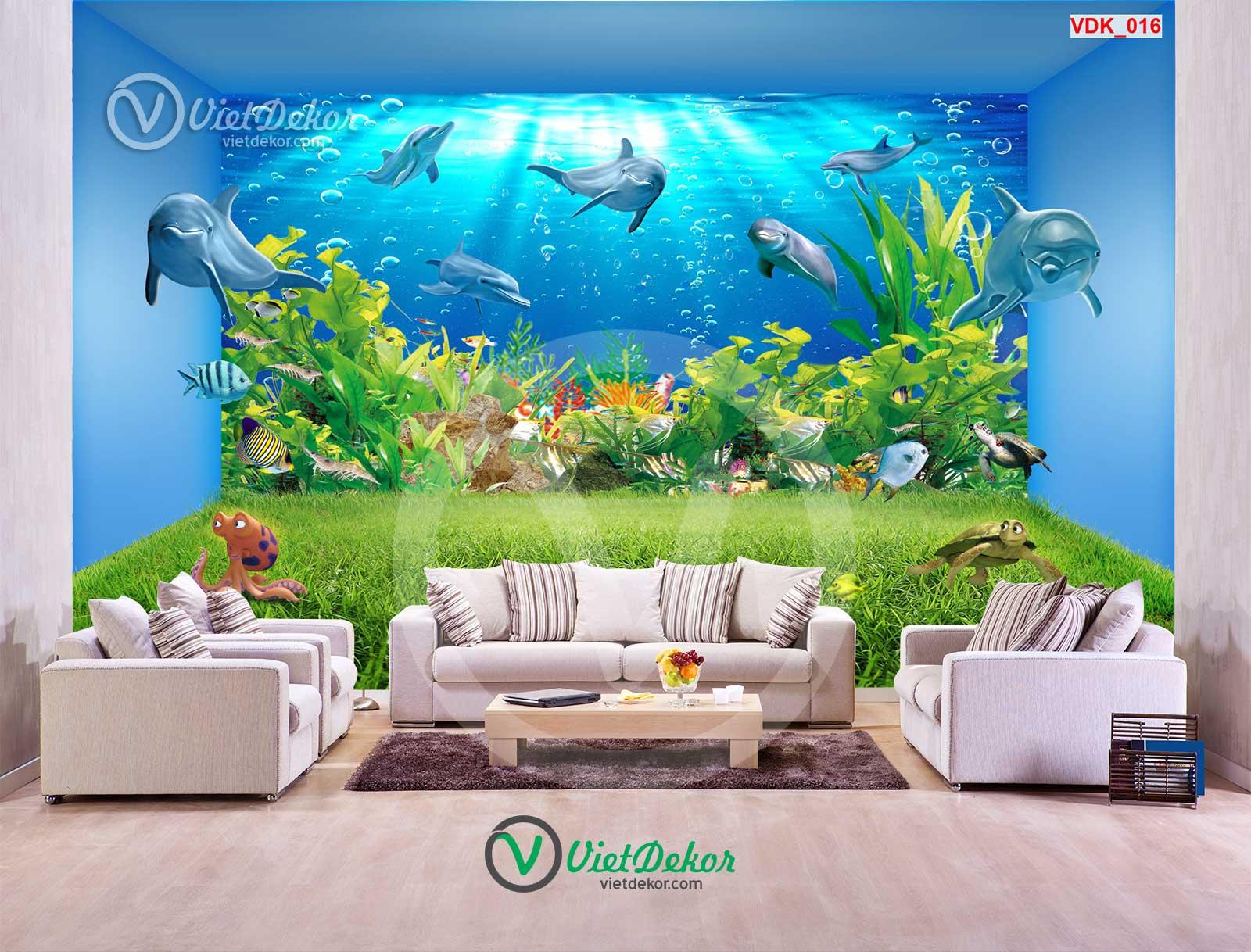 Tranh dán tường 3d dưới đáy biển