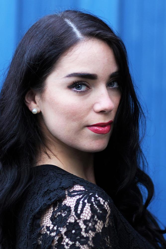 UK fashion blogger Emma Louise Layla in black lace dress - London style blog