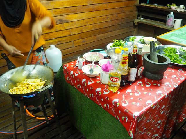 Cooking dinner in homestay in Krabi, Thailand