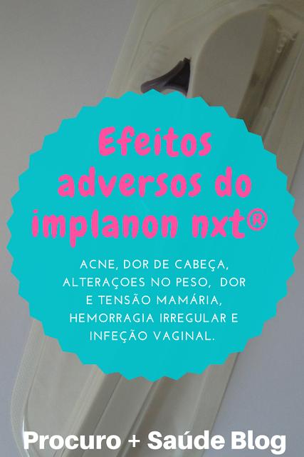 Efeitos adversos do implanon nxt®