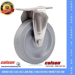 Bánh xe cao su Performa, càng bánh xe inox cố định tải trọng (90 - 136kg) www.banhxedayhang.net