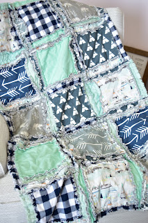 navy blue, mint, gray bear crib bedding and baby boy rag quilt for outdoor nursery