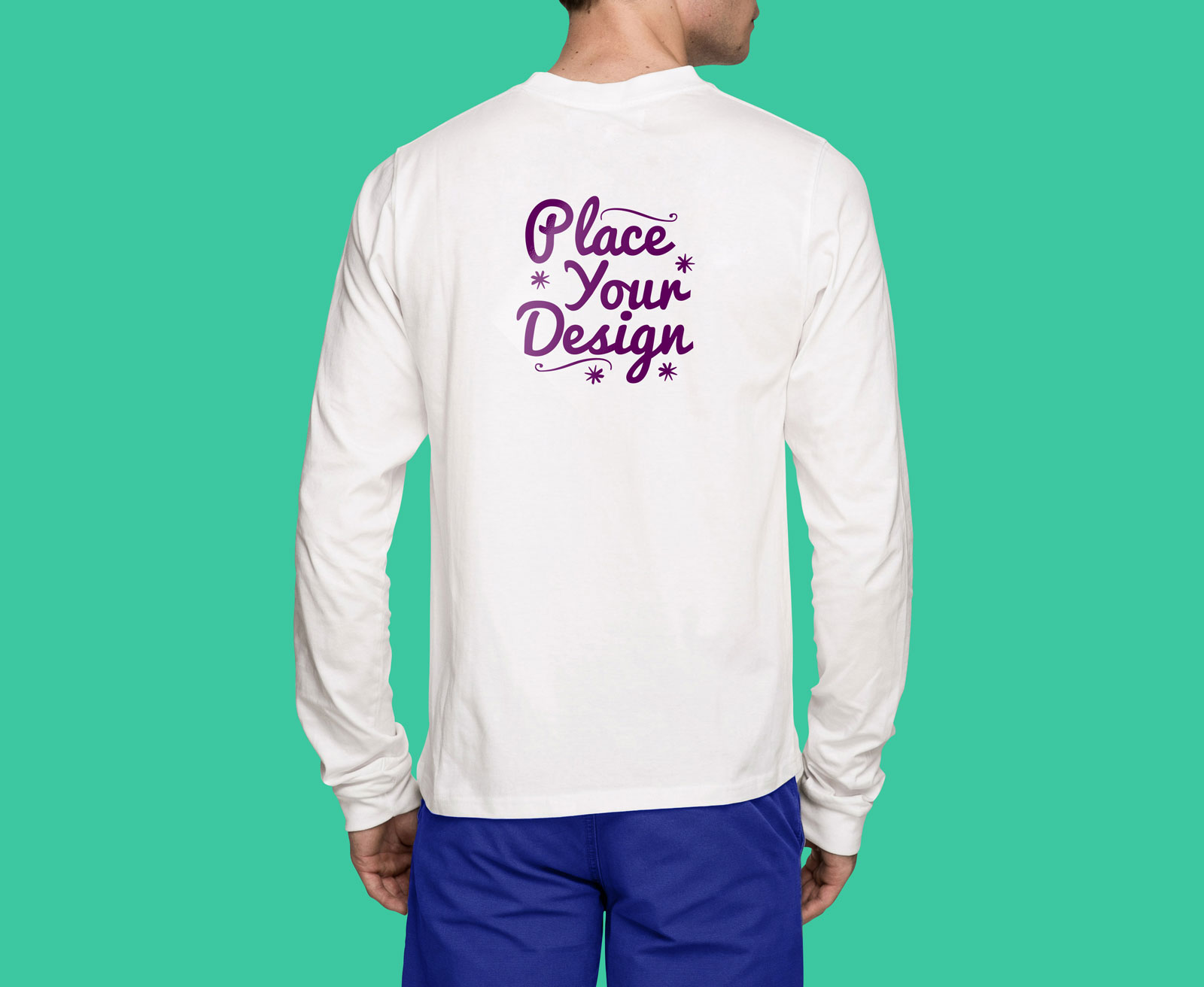 Free Backside White Long Sleeves T Shirt Mockup PSD