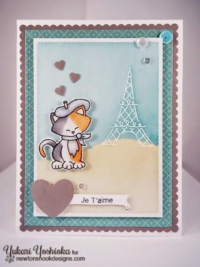 Je T'aime cat in Paris card by Yukari Yoshioka | Newton Dreams of Paris stamp set by Newton's Nook Designs