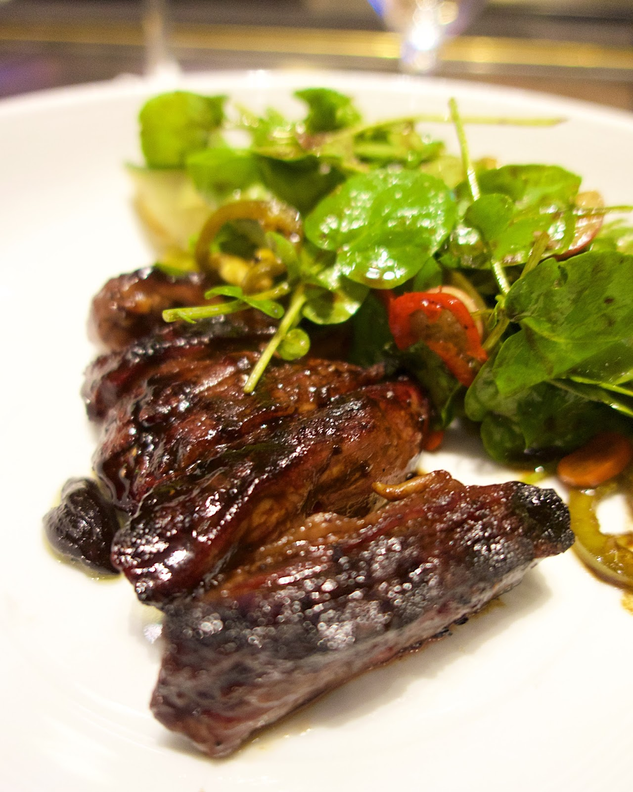 Tom Colicchio's Heritage Steak - soy-chili glazed skirt steak skewers
