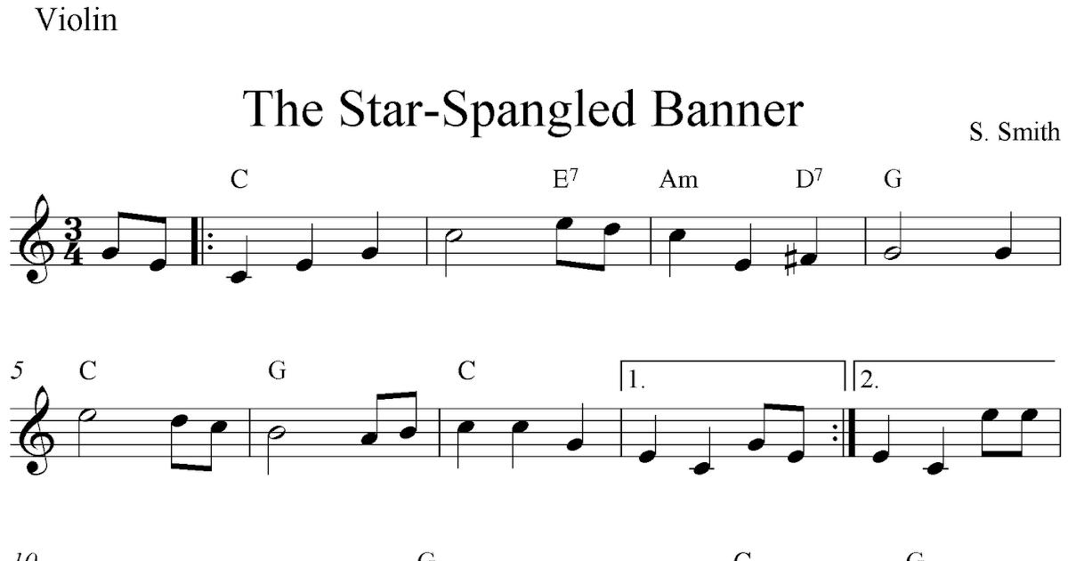 The Star-Spangled Banner, free easy violin sheet music notes