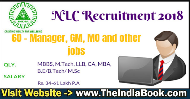 NLC Recruitment For 60 GM, MO, Manager & Other Posts 2018