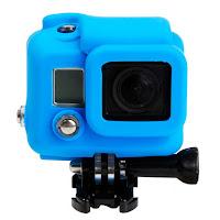 compatibile per GoPro Hero 3 3+ 4 in silicone custodia case protezione gomma rubber antiurto paraurto.