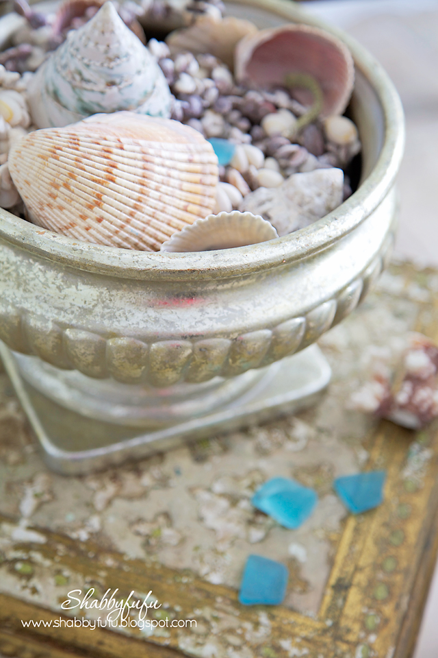five minute styling tips - a neutral seashell collection in a vintage distressed silver bowl