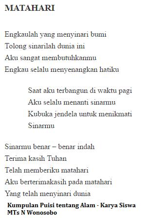 Puisi Yang Berkaitan Dengan Alam