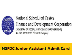 NSFDC Junior Assistant Admit Card