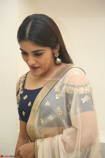 Niveda Thomas in Lovely Blue Cold Shoulder Ghagra Choli Transparent Chunni
