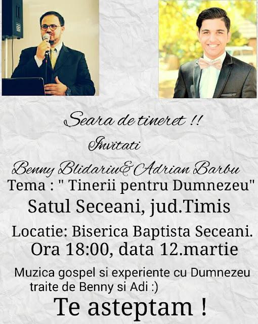 Seara de tineret la Biserica Baptista din Seceani - 12 martie 2016