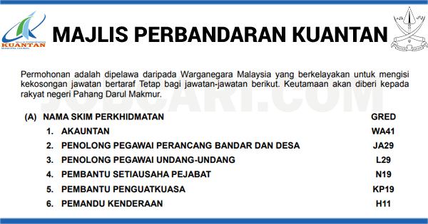 Jawatan Kosong Di Majlis Perbandaran Kuantan Mpk Pelbagai Jawatan Tetap Jobcari Com Jawatan Kosong Terkini