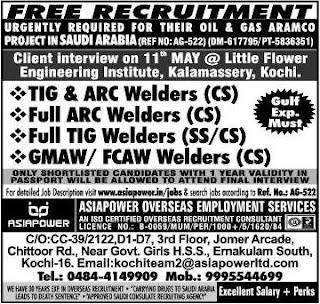 Welders jobs in Saudi Arabia - Free Recruitment