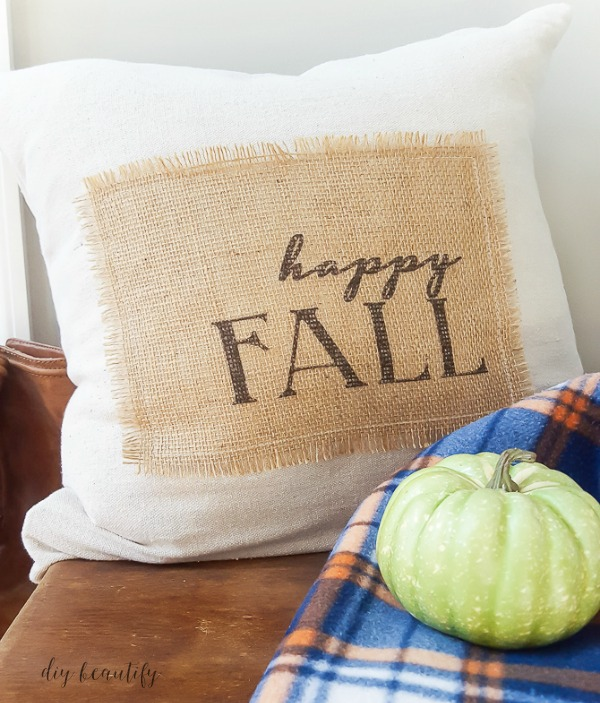 DIY printed burlap pillow
