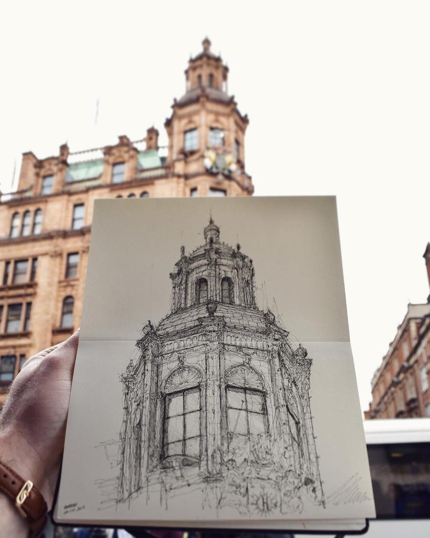 10-Harrods-London-Luke-Adam-Hawker-Architectural-Illustration-of-Imposing-Buildings-www-designstack-co