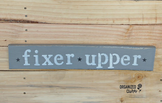 Make your own Fixer Upper Sign with Kaisercraft Stencil organizedclutter.net
