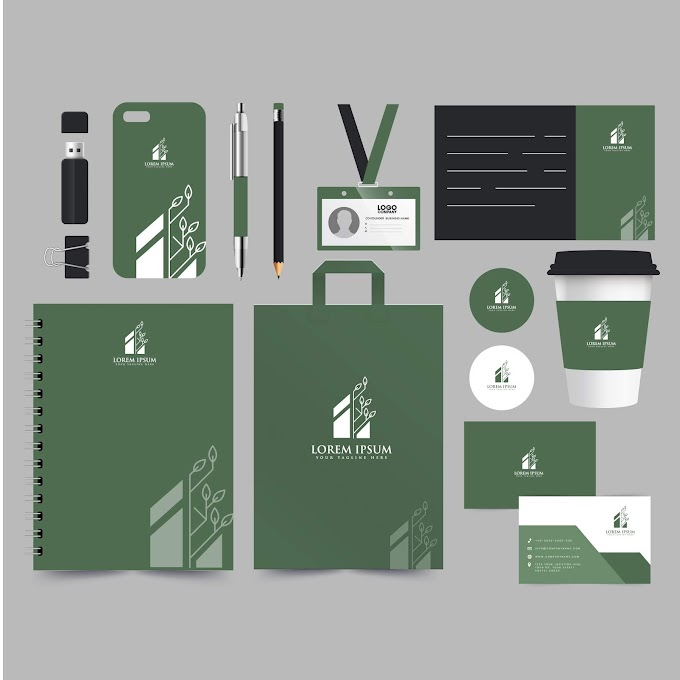 Corporate identity sets modern flat decor dark design Free vector