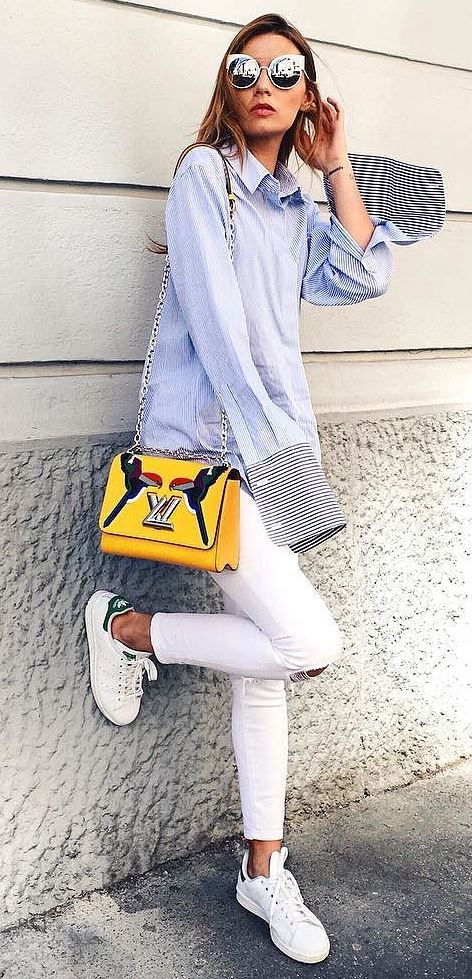 casual style inspiration: shirt + white rips + bag + sneakers