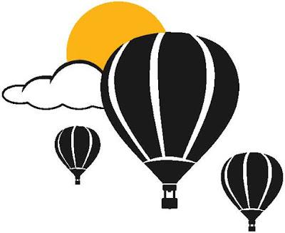 tres globos de aire caliente se unen en un cielo tranquilo y soleado
