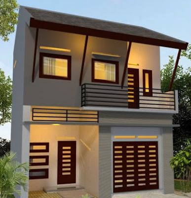 ide Tampak Depan Rumah Minimalis modern 2 Lantai type 36