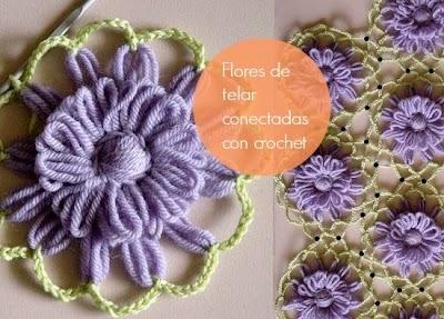 Flores de Telar conectadas con Crochet