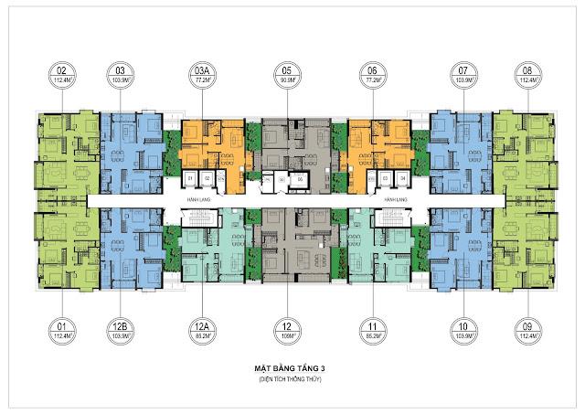 Mặt bằng thiết kế tầng 3 ONE 18 Ngọc Lâm