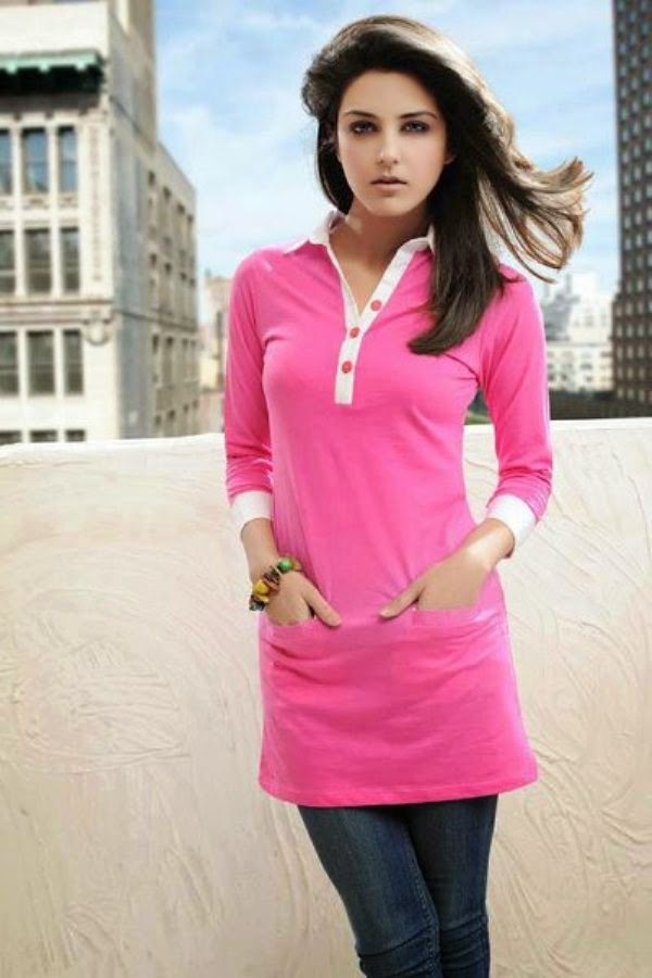 Long Shirts with Jeans Collection 2014 | Long Shirts with Tight Jeans Trends  2014 for Girls