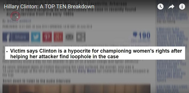 Screen Capture from the video by Black Pigeon Speaks:  Hillary Clinton's Top Ten Scandals