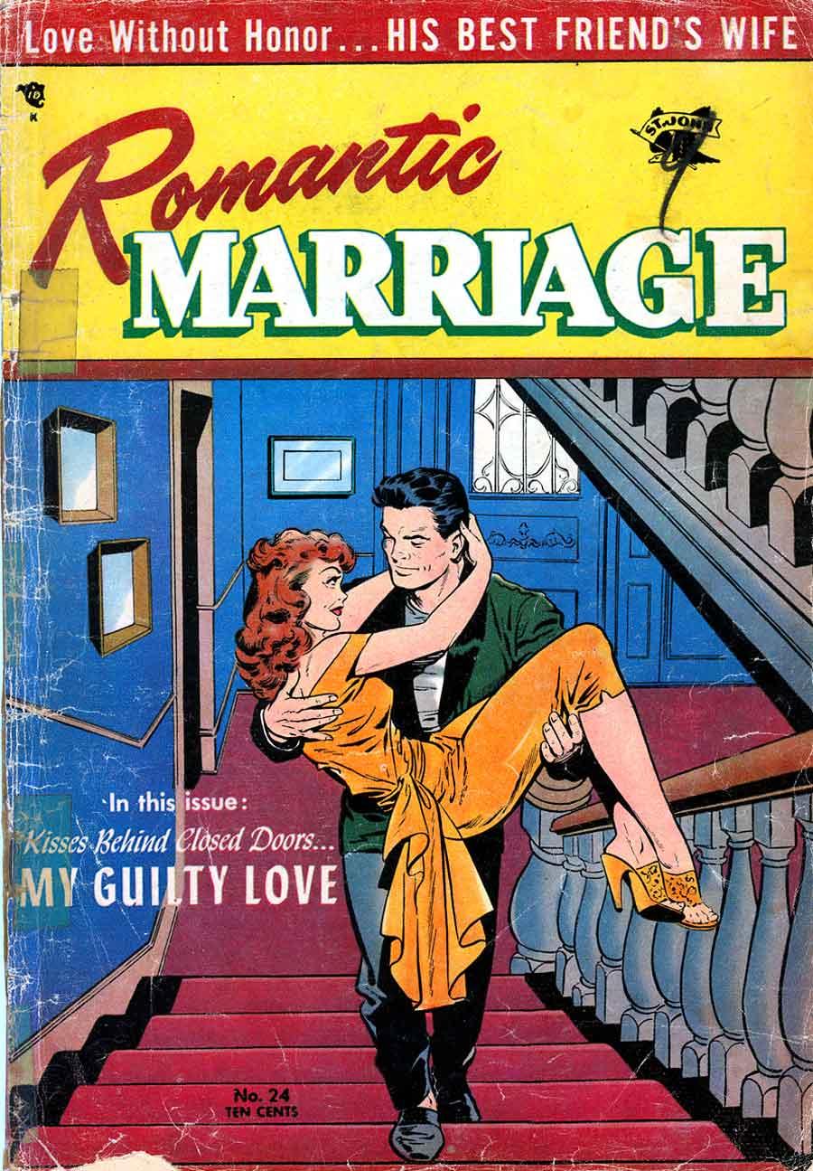 Romantic Marriage v1 #24 st.john romance comic book cover art by Matt Baker