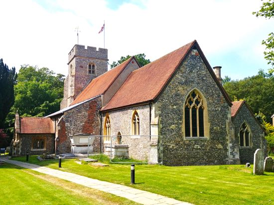There are two WWI and seven WWII war graves in the two churchyards at St Mary's   Image by the North Mymms History Project, released under Creative Commons BY-NC-SA 4.0