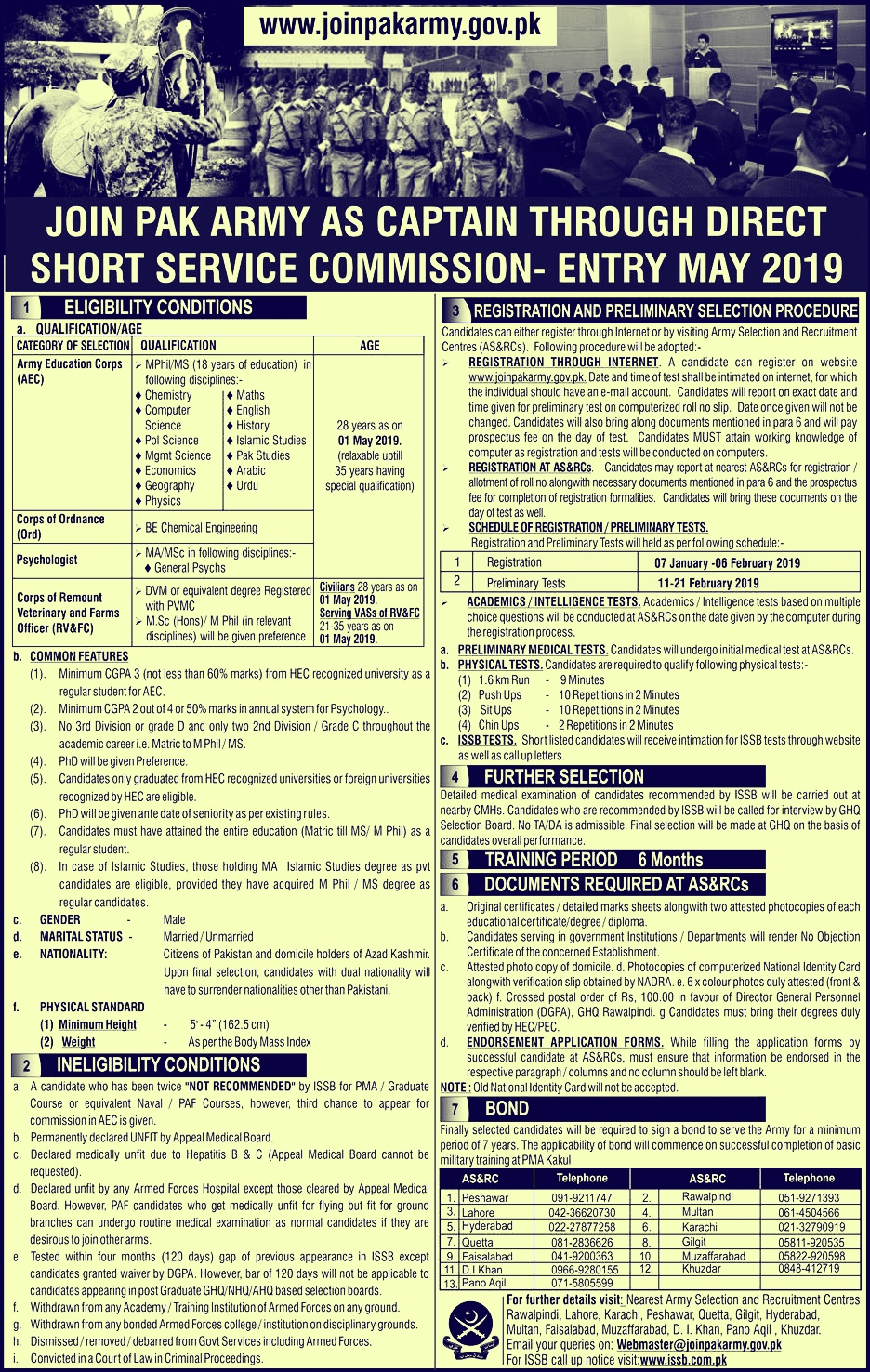 Join Pak Army as Captain 2019 - Online Apply