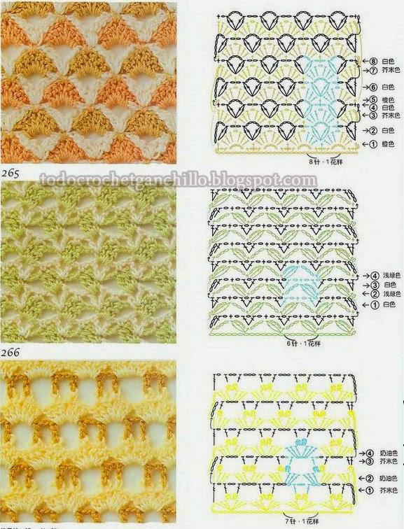 Puntos crochet patrones para combinar colores