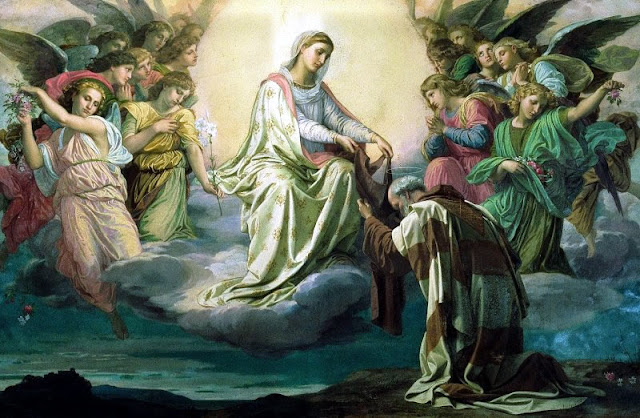 An image of Our Lady giving the Brown Scapular to St. Simon Stock