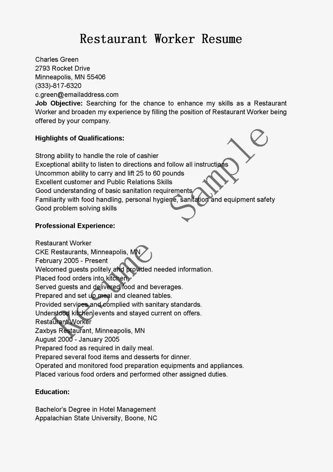 resume samples  restaurant worker resume sample