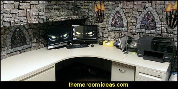 castle medieval harry potter cubicle  office cubicle decorating ideas - cubicle decorating - work desk decorations - cubicle decoration themes - cubicle decor - office birthday party cubicle decorations - office birthday decorating kit - glitter office supplies - desktop organizers