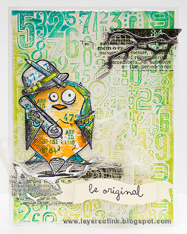 Layers of ink - Be Original Bird Crazy Card, with Sizzix dies by Tim Holtz, by Anna-Karin