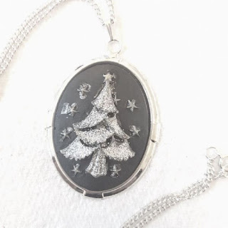 Silver Christmas tree cameo necklace handmade