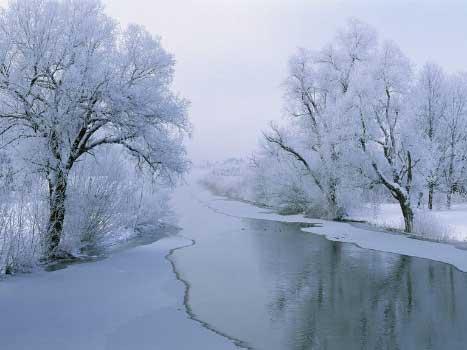 Najlepše zimske pozadine za računar - River in winter