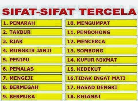 Sifat-Sifat Tercela
