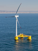 Floating wind turbine (Photograph Credit: Untrakdrover | Wikimedia) Click to Enlarge.