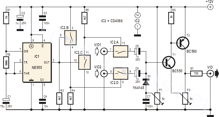 Video Switch for Intercom System IC 4060 Circuit Project on